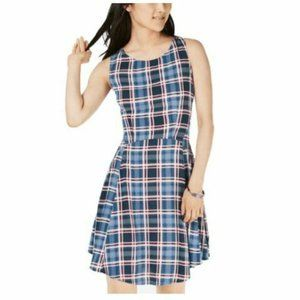 Be Bop Large Blue Red Printed A Line Dress NWT N55